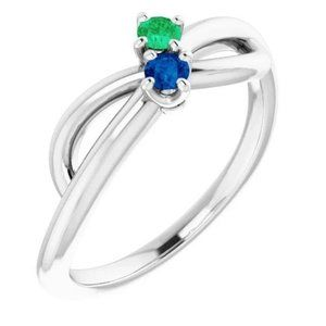 Ceylon Blue & Green Emerald Ring 0.30 Cts Infinity
